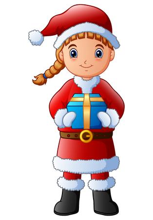 Illustration vectorielle de fille de dessin animé dans un cadeau de tenue de père Noël Vecteurs