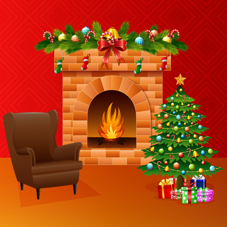 Vector illustration of Christmas fireplace with xmas tree, presents, and sofa