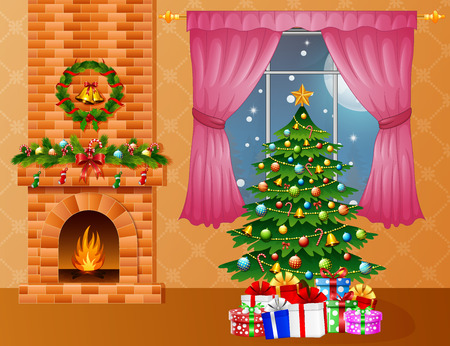 Vector illustration of Christmas room interior with fireplace, xmas tree and presents