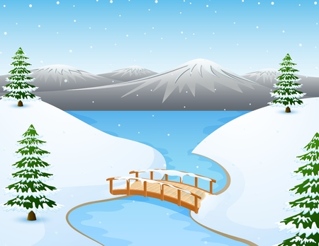 Cartoon winter landscape with mountains and small wooden bridge over river Banco de Imagens