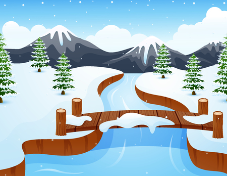 Cartoon winter landscape with mountains and small wooden bridge over river Stock Photo