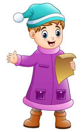 Cartoon boy in winter clothes singing christmas carols Stock Photo