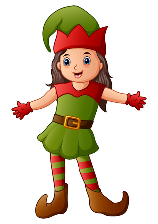 Vector illustration of Cartoon christmas elf presenting