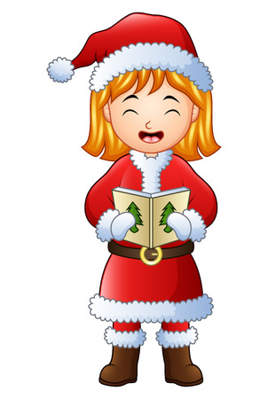 Vector illustration of Cartoon girl singing christmas carols isolated on white background