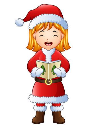Vector illustration of Cartoon girl singing christmas carols isolated on white background