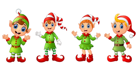 Vector illustration of Four Christmas elves different poses isolated on white background  イラスト・ベクター素材