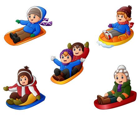 Vector illustration of Set of cute children sledding