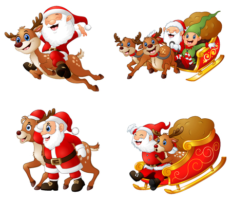 Vector illustration of Collection of happy Santa Claus with a sleigh and reindeer.