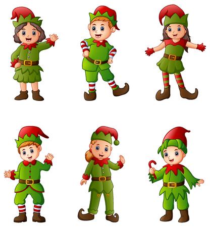 Vector illustration of set of cartoon Christmas elves on white background.