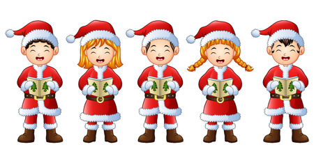 Vector illustration of five happy children singing Christmas carols.