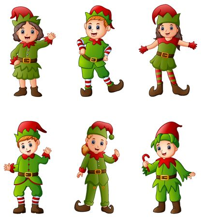 Set of cartoon christmas elves isolated white background Banque d'images
