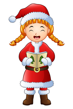 Cartoon girl singing christmas carols isolated on white background