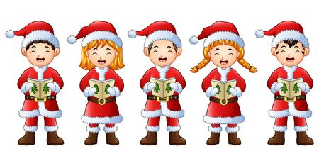 Five happy children singing christmas carols