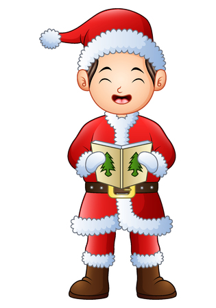 Cartoon boy singing christmas carols isolated on white background