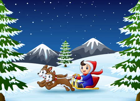 Vector illustration of Happy boy riding on a sleigh pulled by two dog at winter night