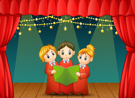 Vector illustration of Children choir performing on stage Illustration