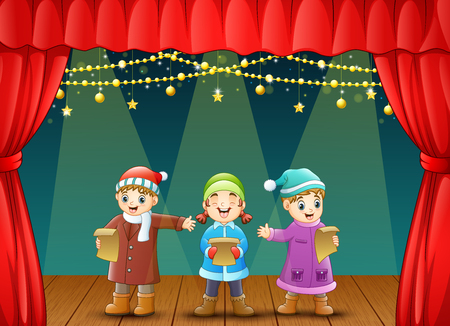 Vector illustration of Three kids singing christmas carols on stage Illustration