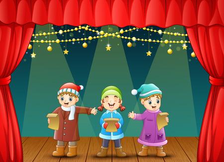Vector illustration of Three kids singing christmas carols on stage Illustration