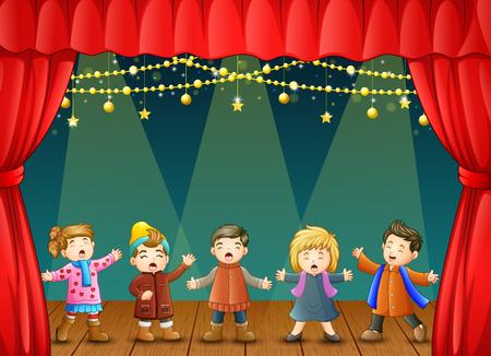 Vector Illustration der Gruppe Kinder, die auf dem Stadium singen Standard-Bild - 90818986