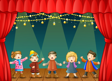 Vector illustration of Group of children singing on the stage