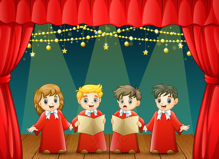 Vector illustration of Children choir performing on the stage