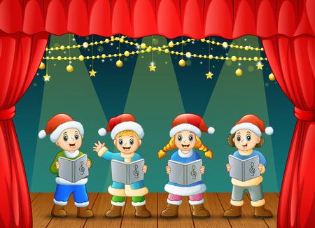 Vector illustration of Cartoon children singing christmas carols on the stage
