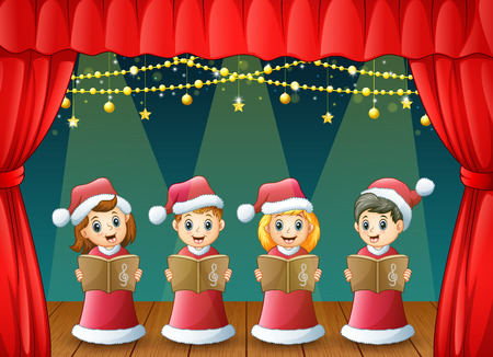 Vector illustration of Cartoon children in red santa costume singing christmas carols on the stage