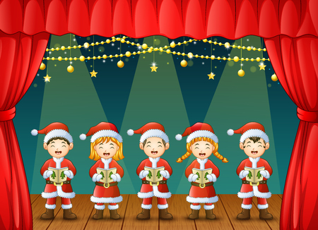 Vector illustration of Group of children singing christmas carols on the stage