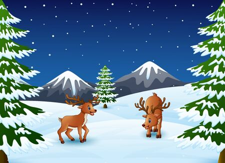 Cartoon reindeer on a winter background