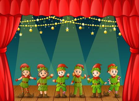 ステージで演奏のクリスマスのエルフ