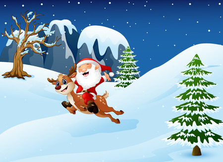 Illustration of Happy santa claus riding a reindeer jumping on snow downhill.