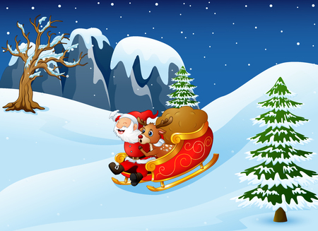 Illustration of Cartoon santa clause and a reindeer riding on a sleigh with sack of gifts.