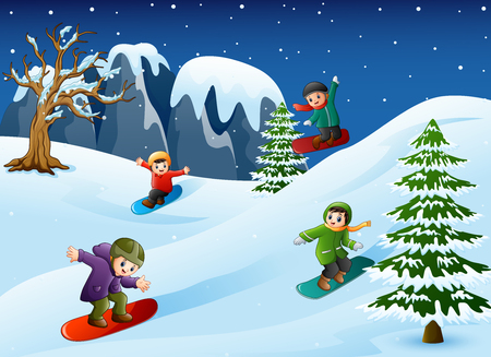 Vector illustration of Happy kids in warm clothes snowboarding downhill Ilustrace