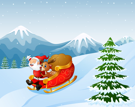 Vector illustration of cartoon santa claus and a reindeer on a sleigh with sack of gifts