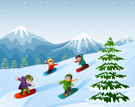 Vector illustration of Children snowboarding on the snow