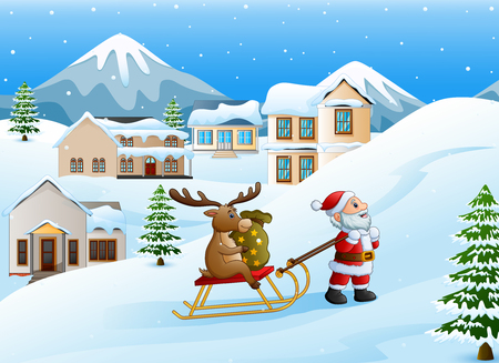 Vector illustration of Cartoon funny santa claus pulling reindeer on a sleigh with sack of gifts