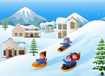 Vector illustration of Children playing sledding in the snow