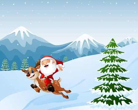 Happy santa claus riding a reindeer on snow downhill