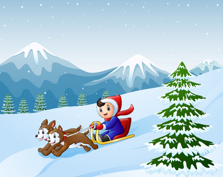 Cartoon boy sledding down on the snow pulled by two dogs Stockfoto