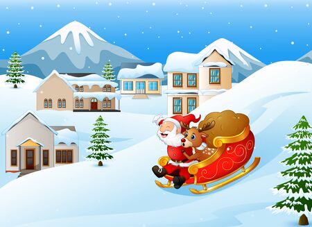 Cartoon santa claus with deer riding on a sleigh with bag of gifts