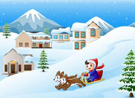 Vector illustration of Cartoon boy riding sled on the downhill pulled by two dogs