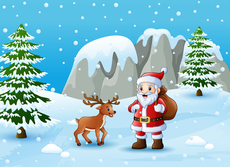 A Vector illustration of Winter background with santa claus and deer Illustration