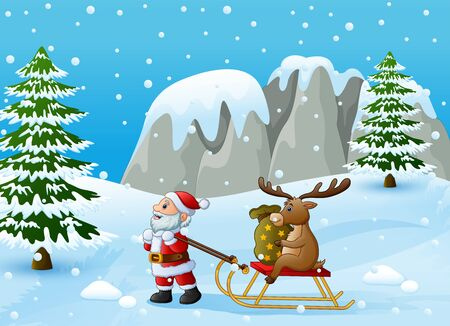 Cartoon funny santa claus pulling reindeer on a sleigh with sack of gifts
