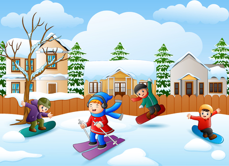Vector illustration of Happy kid playing snowboard in the snowing village Illustration