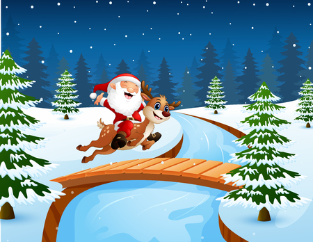 Vector illustration of Happy santa claus riding a reindeer on the bridge in the snowing hill