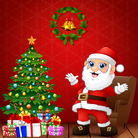Illustration of happy santa in the living room with christmas and new year decoration Vectores