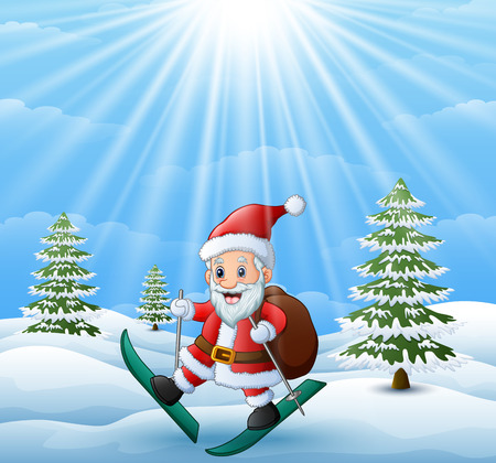 Vector illustration of Santa claus skiing in the hill with sack of gifts