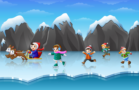 Vector illustration of happy kids playing in winter background.