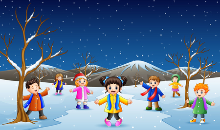 Vector illustration of cartoon kids playing in the snow
