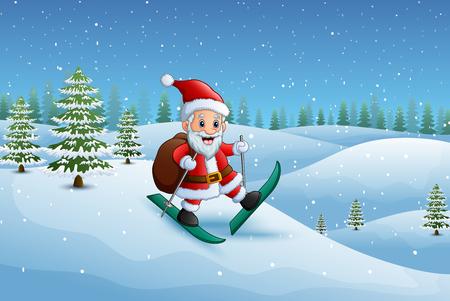 サンタ クロースの贈り物の袋と雪の丘のスキー